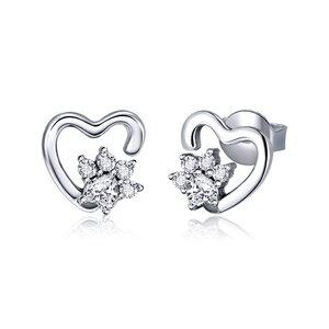 Cercei din argint Heart Crystal Paws
