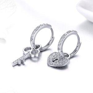 Cercei din argint Heart & Key Hoops