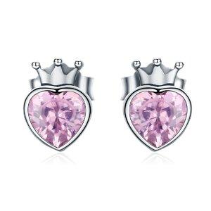 Cercei din argint Heart of Crown