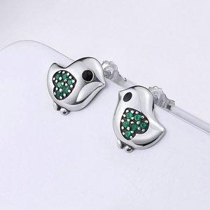 Cercei din argint Little Bird green