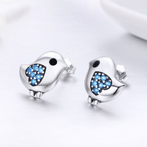 Cercei din argint Little Birds blue