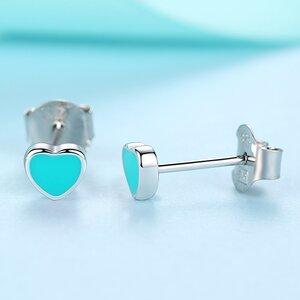 Cercei din argint Little Blue Email Hearts