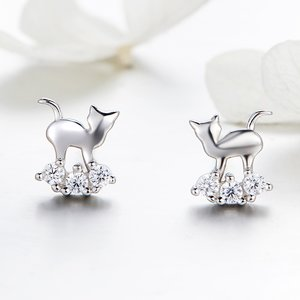 Cercei din argint Little Crystal Cat