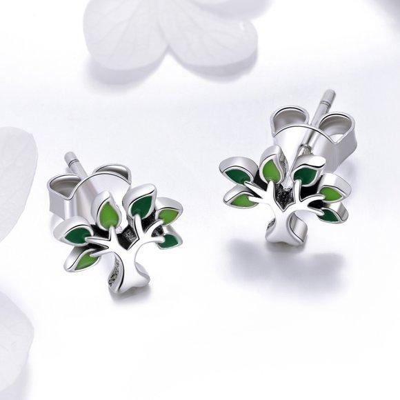 Cercei din argint Little Green Tree
