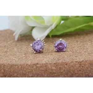 Cercei din argint Little Kitty Purple