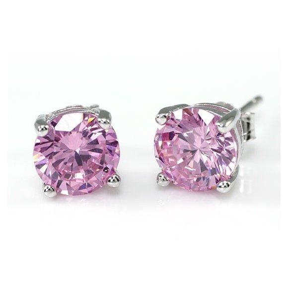 Cercei din argint Little Pink Diamonds