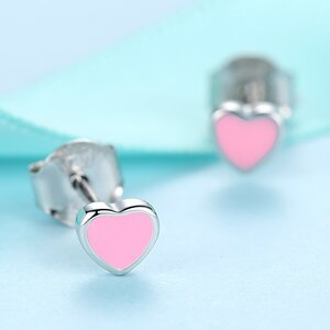 Cercei din argint Little Pink Email Hearts