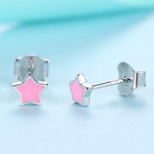 Cercei din argint Little Pink Email Star