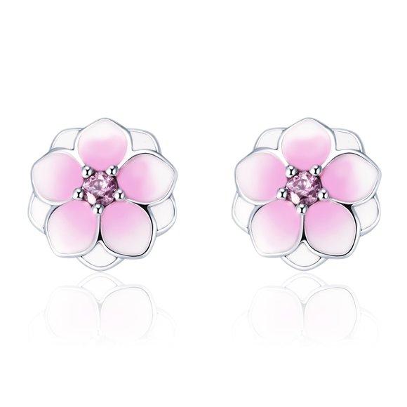 Cercei din argint Little Pink Flower