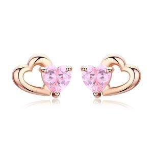 Cercei din argint Little Pink Hearts Rose Gold