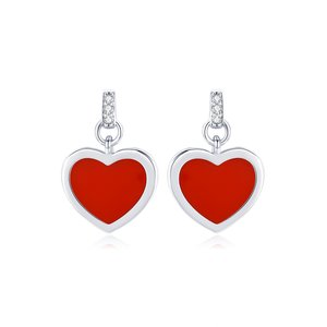 Cercei din argint Little Red Hearts Studs