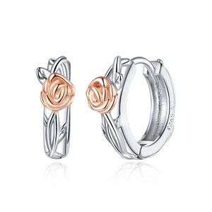Cercei din argint Little Rose Hoops
