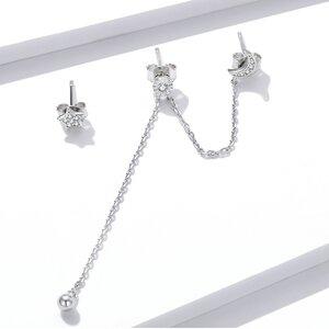 Cercei din argint Little Star & Moon Chain