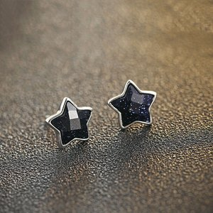 Cercei din argint Little Stars black