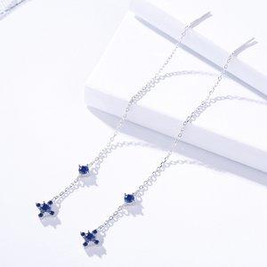 Cercei din argint Long Blue Cross