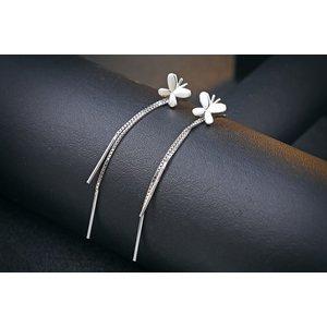 Cercei din argint Long Butterfly