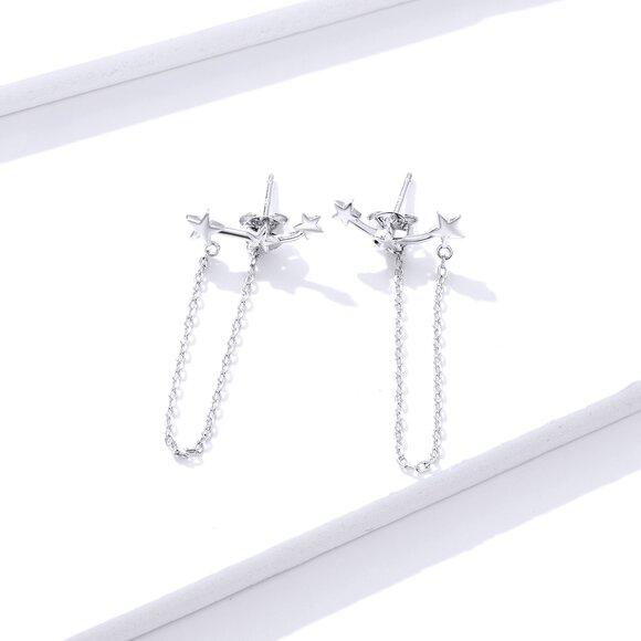 Cercei din argint Long Chain Stars