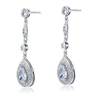 Cercei din argint Long Clear Sapphire