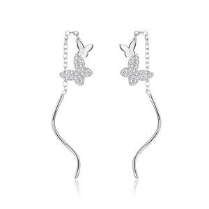 Cercei din argint Long Curled Butterflies
