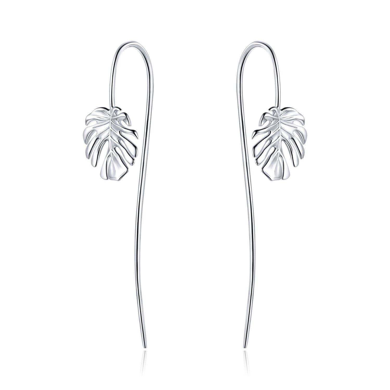 cercei din argint long curled leafs 86791 4