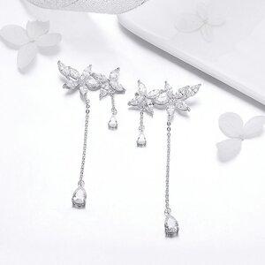 Cercei din argint Long Fashion Crystals