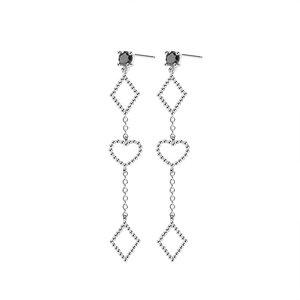 Cercei din argint Long Fashion Hearts