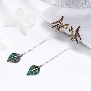 Cercei din argint Long Fashion Leaf