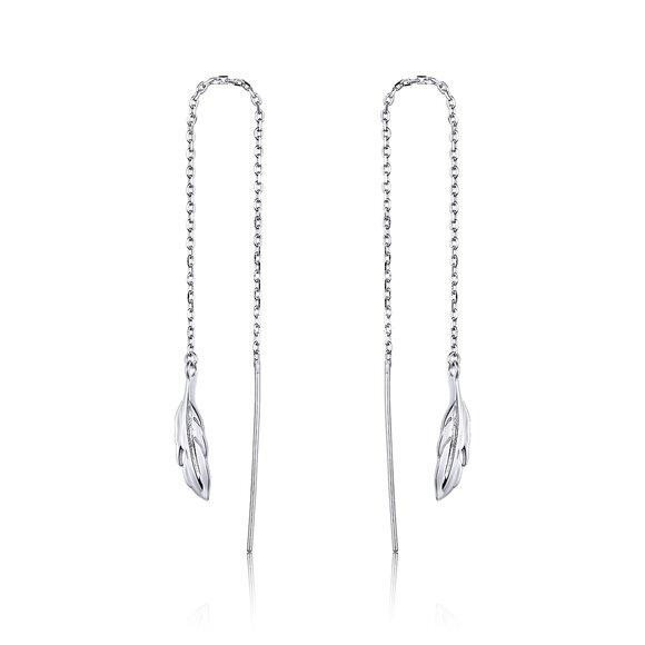 Cercei din argint Long Feathers