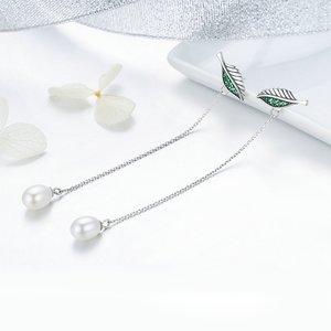 Cercei din argint Long Oval Pearls