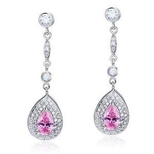 Cercei din argint Long Pink Sapphire