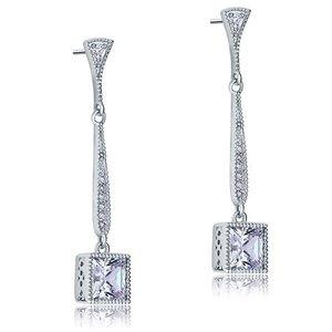 Cercei din argint Long Square Diamonds