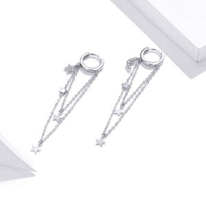 Cercei din argint Long Stars Chain Hoops
