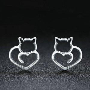 Cercei din argint Lovely Cat