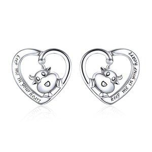Cercei din argint Lovely Cow Heart