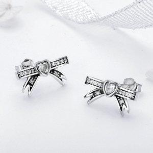Cercei din argint Lovely Little Bow