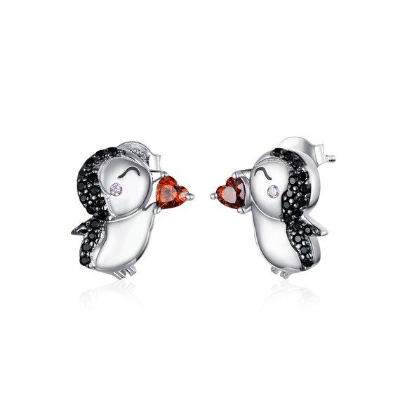 Cercei din argint Loving Penguins