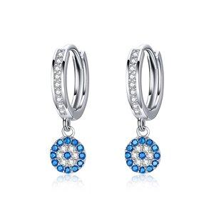 Cercei din argint Lucky Blue Eye Hoops