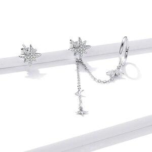 Cercei din argint Luminous Chain Stars