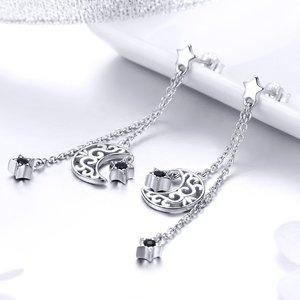 Cercei din argint Moon Chain Drop