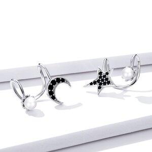 Cercei din argint Moon & Pearls