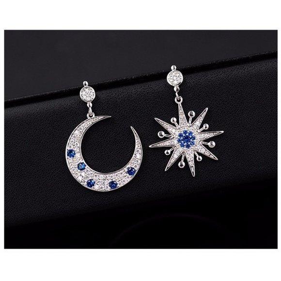 cercei din argint moon and stars