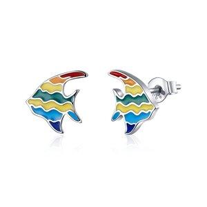 Cercei din argint Multicolor Fish