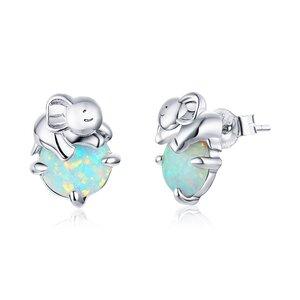 Cercei din argint Opal Elephant