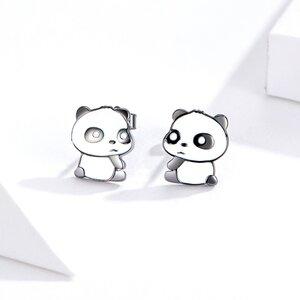 Cercei din argint Panda Bear
