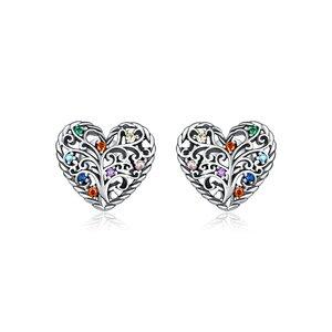 Cercei din argint Pattern Colored Heart