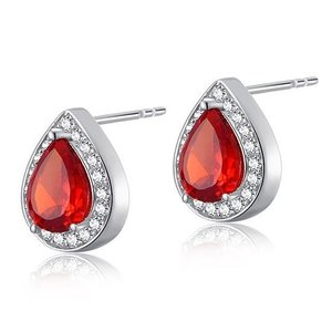 Cercei din argint Pear Ruby Diamond