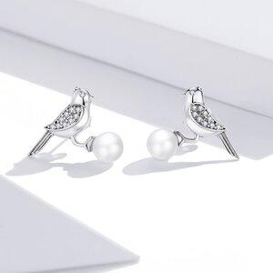 Cercei din argint Pearl Birds