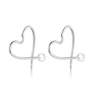 Cercei din argint Pearl Heart Hoops