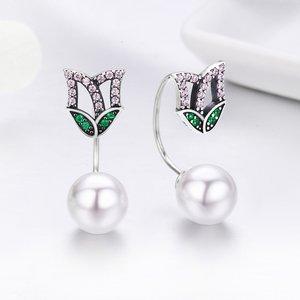 Cercei din argint Pearls and Petals