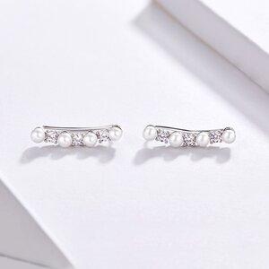 Cercei din argint Pearls & Crystals